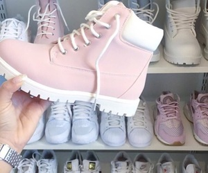 pink and timberlands image