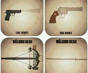the walking dead, michonne, and carl image