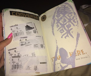 book, converse, and shoes image