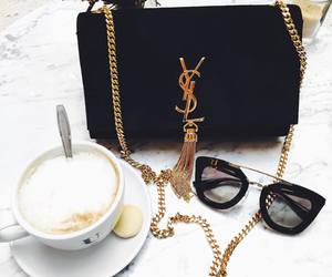 coffee, sunglasses, and YSL image