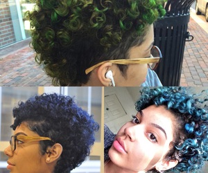 curly hair, dyed hair, and haircut image