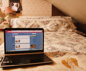 tumblr, computer, and bed image