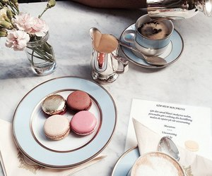 food, coffee, and macaroons image