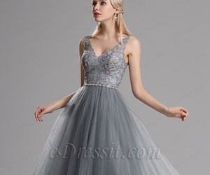 long dress, grey dress, and edressit image