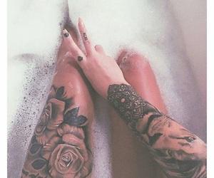 tattoo, tattooed girls, and black image