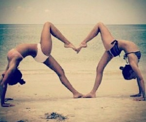 backbend, beach, and best friends image