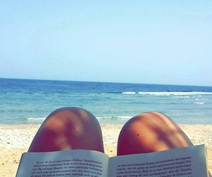 beach, holiday, and books image