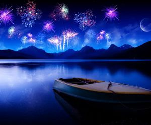 fireworks, boat, and night image