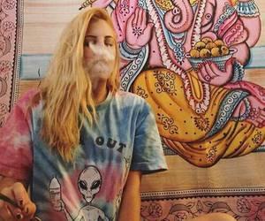 girl, smoke, and hippie image