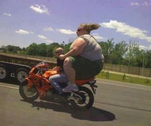 funny, fat, and motorcycle image