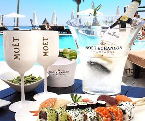 sushi, champagne, and food image
