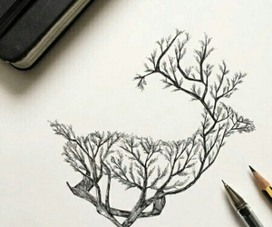 art, drawing, and deer image