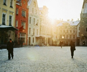 city, people, and snow image