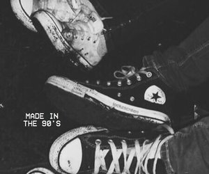 converse, black and white, and shoes image