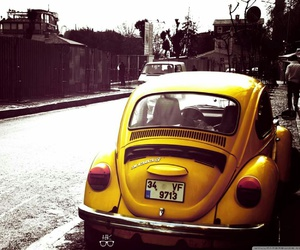 car, yellow, and vintage image
