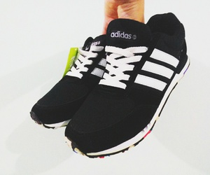 adidas, black and white, and sport shoes image