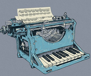 piano, music, and typewriter image