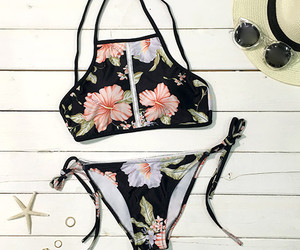 floral, swimsuit, and summer image