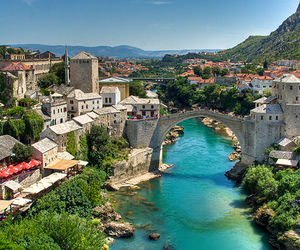 mostar, bridge, and travel image