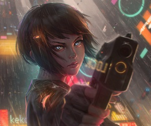 art, anime, and gun image
