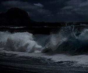 waves, ocean, and dark image