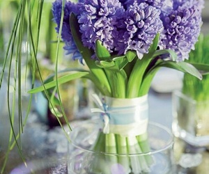 flowers, lilacs, and glass vase image