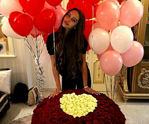 balloons, bouquet, and flowers image