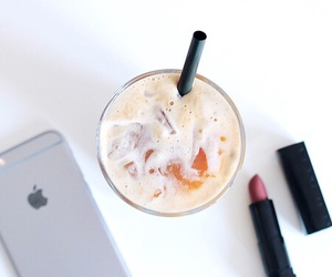 drink, iphone, and lipstick image