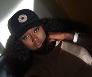 black girl, cap, and goals image