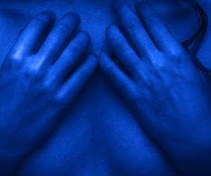 dark, hands, and glow blue image