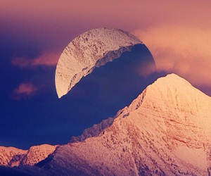 sky, moon, and mountains image