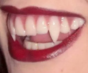 humans, lipstick, and fangs image