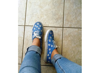 blue, flowers, and vans image