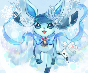 pokemon, snow, and glaceon image