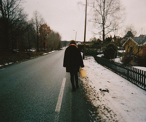 girl, snow, and street image