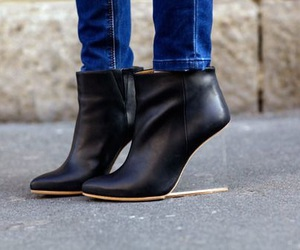 black, booties, and clear image