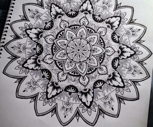 drawing, art, and mandala image