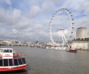 london, london eye, and river image