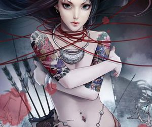 tattoo, warrior, and girl image