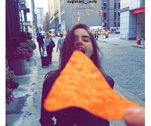 girl, food, and doritos image