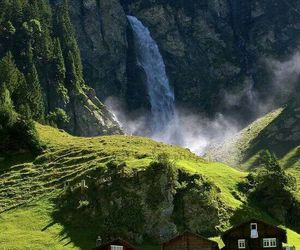 nature, switzerland, and waterfall image
