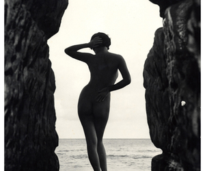 black & white, sea, and skin image