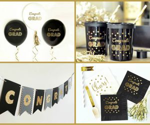 balloons, banner, and black image