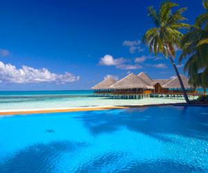 sea, beach, and Maldives image