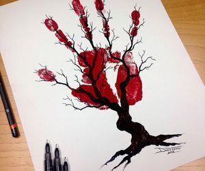 hand, tree, and pen art image