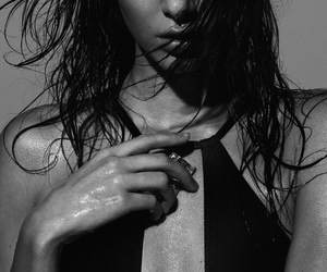 black and white, model, and skin image