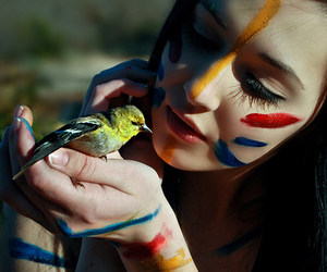 girl, bird, and paint image