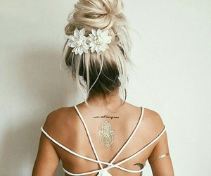 back, bun, and girl image