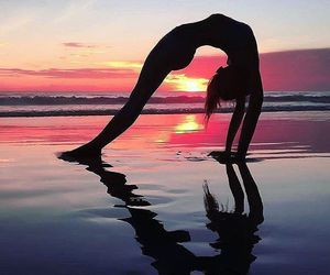 backbend, beach, and travel image