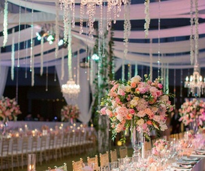 chandelier, decor, and flowers image